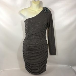 Silver Glitter One Sleeve Body Con Ruched Dress
